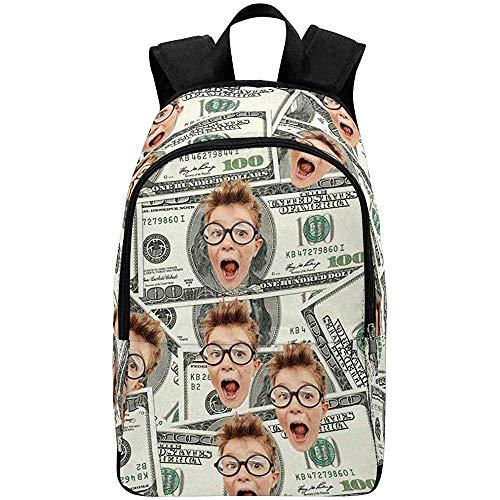 Jamais Vu 2pcs Sitzbezug-Benutzerdefinierte Gesicht Foto Rucksack,100 Dollar Bills Casual Rucksack Tasche Daypack für Frauen Männer