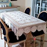 Yazi Vintage Style Tischdecke handgefertigte Häkelmütze Baumwolle Handtuch Hohl für Home Wohnzimmer Dekoration Weiß 110x 180cm
