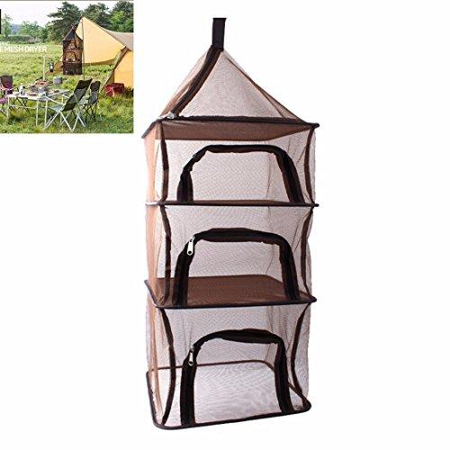 XHL Art Im Freien Kampierendes Insektenlager 4 Schichten Faltendes Geschirr Trocknendes Netzfutter Antifly Speichernetzwerk,Brown (Outdoor-wäsche-trockengestell)