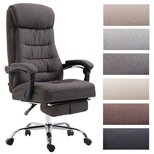 Clp sedia ufficio hades in tessuto - poltrona studio ergonomica imbottita e con poggiapiedi - poltrona elegante girevole e reclinabile - sedia pc alto schienale - carico max 136 kg grigio scuro