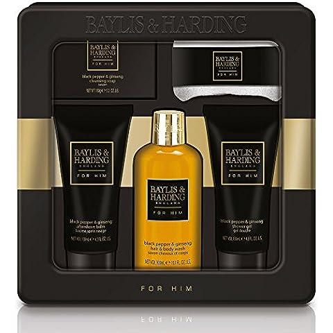 Baylis & Harding Per Lui regalo Tin Hair & Body Wash Sapone Shower Gel Viso Panno