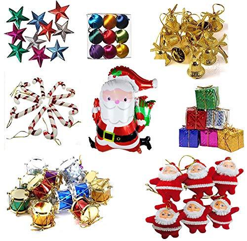 Krisah® 99 pcs Christmas Mini Ornaments Decoration Set (Satin Balls, Bells, Stars,...