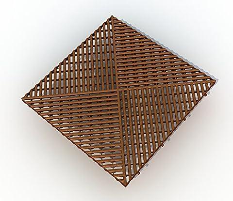 50 ALTADirekt Bodengitter Balkonfliese Rasenfliese Bodenrost Kunststoff 400x400x19 (Braun) (50)