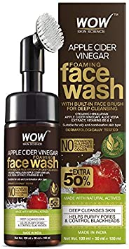 WOW Skin Science Apple Cider Vinegar Foaming Face Wash - with Organic Certified Himalayan Apple Cider Vinegar