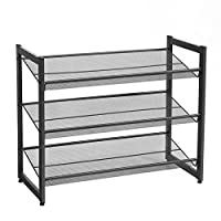 SONGMICS Metal Mesh Shoe Rack with Flat Angled Shelves, Large Stackable and Adjustable Boots Storage Organiser in Hallway Closet
