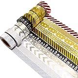K-LIMIT 10er Set Washi Tape Dekoband Masking Tape Klebeband Scrapbooking DIY Weihnachten Christmas Glitter 9149