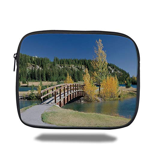 Tablet Bag for Ipad air 2/3/4/mini 9.7 inch,Fall Decor,Autumn in Banff National Park Serene Canada Landscape Yellow Trees Bridge,Yellow Green Blue,3D Print