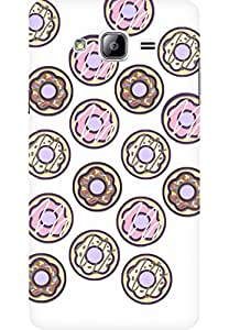AMEZ designer printed 3d premium high quality back case cover for Samsung Galaxy On7 (Donut Doodle White)