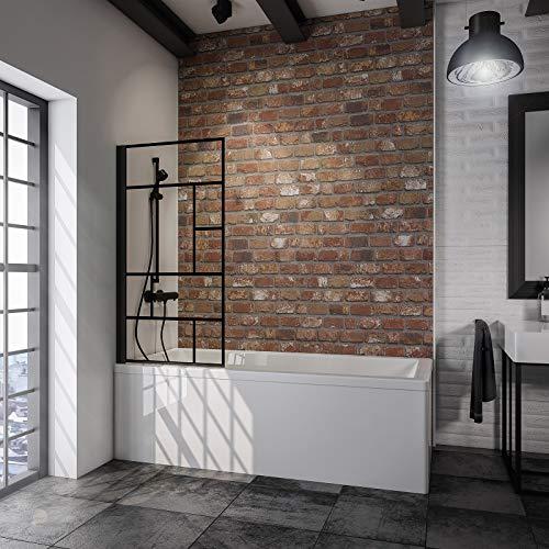 Schulte pare baignoire pivotant, paroi de baignoire rabattable, écran de baignoire noir, 1 volet pliant, verre décor Atelier, 80x140 cm