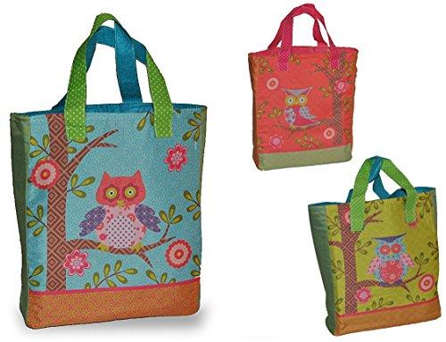 """1 Stück: """" Eule & Blumen """" - Umhängetasche / Schultertasche / Shopper - Kindertasche Tasche Stoff Mädchen Tragetasche Eule - Einkaufstasche Taschen Eulentasche"""