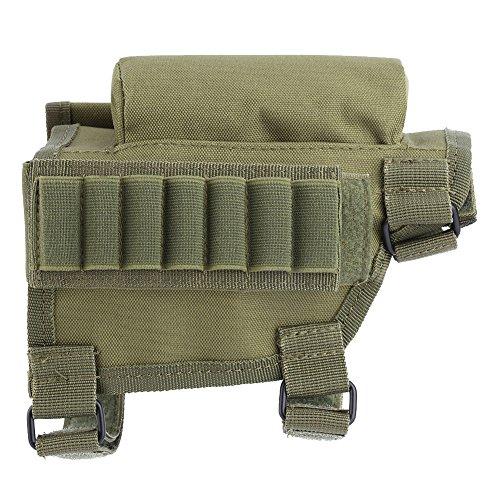 Alomejor Munition Beutel, 3Farben Nylon Jagd Gewehr Shotgun 20Jahren Cheek Halter mit Utility Pouch mit Reißverschluss und Munition Carrier, armee-grün -