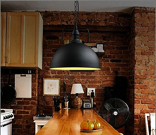 BBSLT-Hotel di stile retrò sala da pranzo lampadario ferro piatto ristorante negozi di fast food, Lampadario industriale copertina creativo , black 40cm