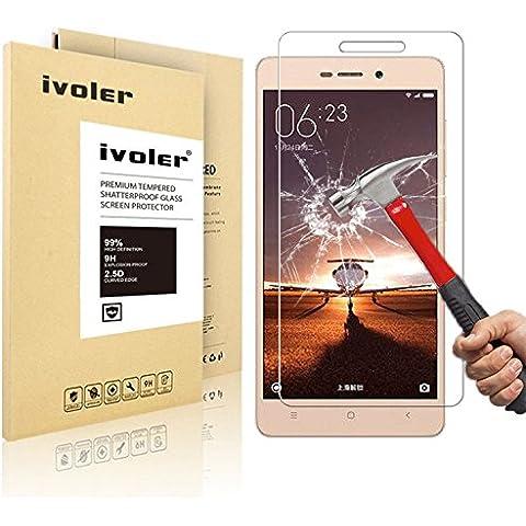 Xiaomi Redmi 3 / 3S / 3 Pro Protector de Pantalla, iVoler® Protector de Pantalla de Vidrio Templado Cristal Protector para Xiaomi Redmi 3 / 3S / 3 Pro- Dureza de Grado 9H, Espesor 0,20 mm, 2.5D Round Edge-[Ultra-trasparente] [Anti-golpe] [Ajuste Perfecto] [No hay Burbujas]- Garantía Incondicional de 18