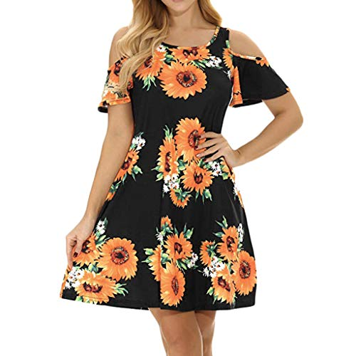 Freizeit Rundhals Flower Print Minikleid,Resplend Damen Off Shoulder Slim Fit Partykleid Strandkleid Sommerkleid A-Linie Abend Prom Abendkleid Swing Dress