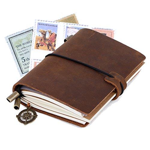 Taccuino Pelle, Diario di Viaggio/Quaderno Pelle Perfetto per La Scrittura Migliore Regalo Taccuino in Pelle & Quaderno Vintage, Dimensione Pocket 5.1 × 4.1'' (Marrone)