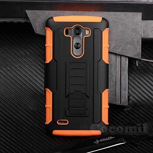 Cocomii Robot Armor LG G3 Hülle [Strapazierfähig] Erstklassig Gürtelclip Ständer Stoßfest Gehäuse [Militärisch Verteidiger] Ganzkörper Solide Case Schutzhülle for LG G3 (R.Orange)
