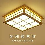 BRIGHTLLT Der ursprüngliche hölzerne Decke Lampen, LED das Wohnzimmer Schlafzimmer chinesische Holz- Lampe leuchtet 3 Studie Farben Light Strip auf die Fernbedienung, 550 mm