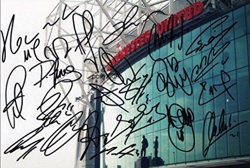 THEPRINTSHOP Edición limitada foto firmada del equipo Manchester United 2017/18+ Cert impreso