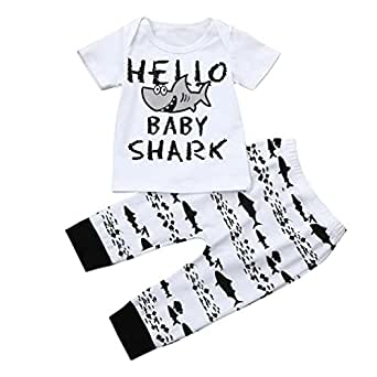 CHshe Baby Boys Girls Hello Baby Shark Print Short Sleeve