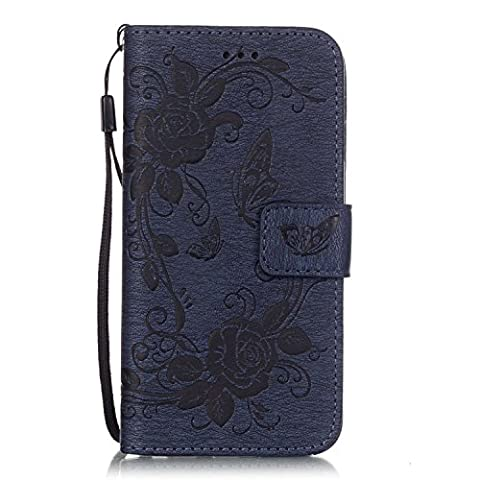 iPhone 6S / iPhone 6 Case Leather [with Free USB Charging Cable], ESSTORE-EU Elegant Butterfly Rose Patterned Embossing PU Leather Stand Function Protective Cases Covers with Card Slot Holder Wallet Book Design Fordable Strap Case for Apple iPhone 6S / iPhone 6 4.7 Inch, Dark Blue