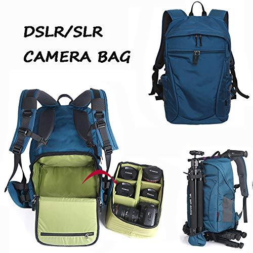 WENDYRAY Digitaler SLR-Kamera-Rucksack mit Regenschutz Wasserabweisende Anti-Schock-Polsterung Fototasche für Nikon Canon Sony DSLR-Kameraobjektiv,M