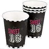 Neu: 6 Party-Becher * Sweet 16 * für Eine Party Zum 16. Geburtstag   Feier Sechzehn Teenie Teenager Partybecher Pappbecher Einweg Motto Cups Mädchen Girl