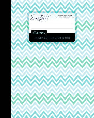 Chevron Composition Notebook: College Ruled Writing Journal for School / Teacher / Office / Student [ Perfect Bound * Large * Blue Green & Teal ]