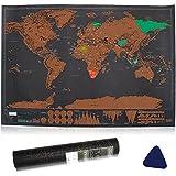 Vitutech Carte du monde Carte du monde à gratter Carte à Gratter Scratch le monde Scrape off World Map - Grattez les endroits que vous avez visité 42.3X30CM