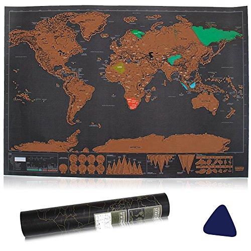 Vitutech Weltkarte zum Rubbeln, Rubbel Weltkarte mit Plektrums schöne Erinnerung für Reisebegeisterte und Globetrotter 42.3X30CM