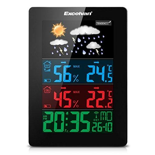 Excelvan Wireless Bunte Wetterstation Thermometer Hygrometer Indoor & Outdoor Funkwetterstationen mit vorhersage Temperatur Luftfeuchtigkeit Außensensor