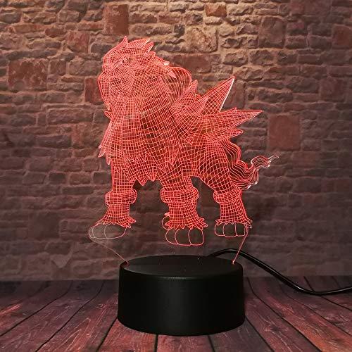 Pokemon Walking Actionfigur Entei IR 7 Couleur Nachtlicht Usb Tisch Lampara Dekoration Kind Kind Baby schlafen Weihnachten Thanksgiving Geschenk