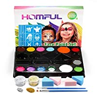 Face Paint Ultimate Party Pack, Face Paint Kit for Kids with 14 Colors, 30 Stencils, 4 Professional Sponges, 2 Brushes, 2 Glitters, Body Makeup Paint Hypoallergenic Water Based Paints for Christmas