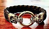 Schwarzes Totenkopf-Armband | Rocker-Armband | Biker-Armband | Skull Bracelet aus Paracord-Seil/Nylon-Seil | Survival Armband
