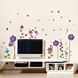 Walplus - Set di adesivi da parete: mod. WS9013 (fiori viola), mod. WS9015 (fiori colorati)