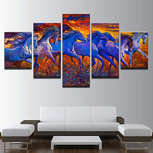 ZYJHD Wohnkultur Leinwand Malerei HD Print 5 Wandkunst Tiere Laufen Pferd Bilder Wohnzimmer Kunst Poster 20X35 cm x 2 20X45 cm x 2 20x55 cm x 1 Rahmenlose