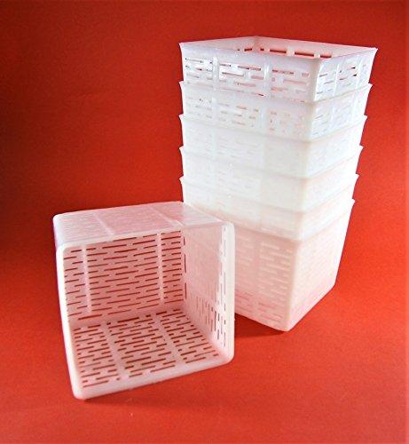 7 x Käseform 10.5x10.5x8.5cm - 0.5kg - Ricotta - Käseformen | Korb | Käseherstellung | Lab