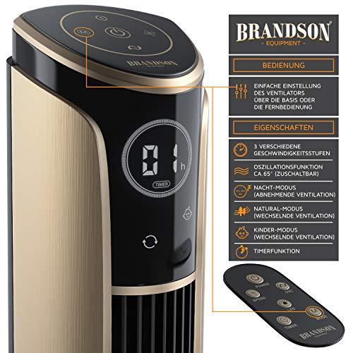 Brandson – Turmventilator mit Fernbedienung 108 cm | Ventilator 10° neigbar | Standventilator mit Oszilation | 65° oszillierend | 3 Geschwindigkeiten 4 Lüftungs-Modi Timer | GS | Schwarz/Gold Bild 2*