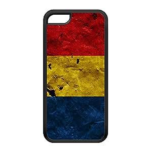 Grunge Paper Flag of Romania - Romanian Flag Coque Silicone Noire Snap-On Protection Arrière Caoutchouc pour iPhone 5C de UltraFlags + Livré avec une protection d'écran GRATUITE