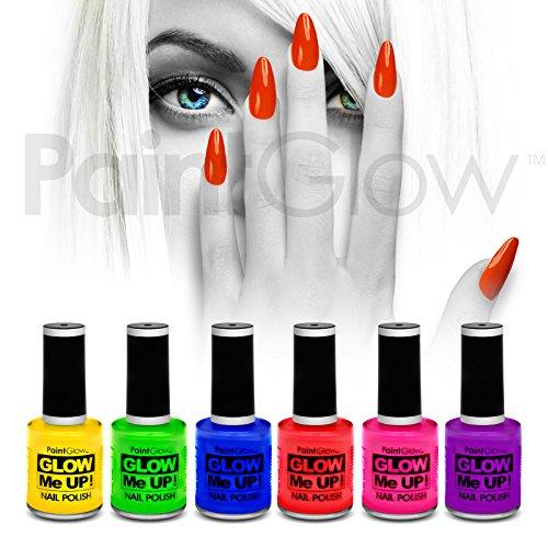 paintglow UV-Reactive Neon Glow Nagellack (6Pack) Festival Halloween Make-up