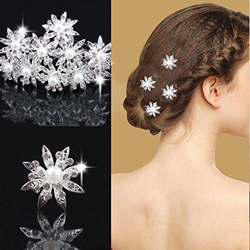 Miya® 4Stück für Prinzessin hochwertige wunderschöne Stern Blumen Silber Haarspiralen Haar Curlies aus Perle und Strass, Braut Hochzeit Jugendweihe Haarnadel Haarschmuck