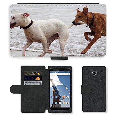 Just Phone Cases PU LEDER LEATHER FLIP CASE COVER HÜLLE ETUI TASCHE SCHALE // M00421764 Hunde Stöckchen zu spielen Beißen Romp // Motorola Google Nexus 6