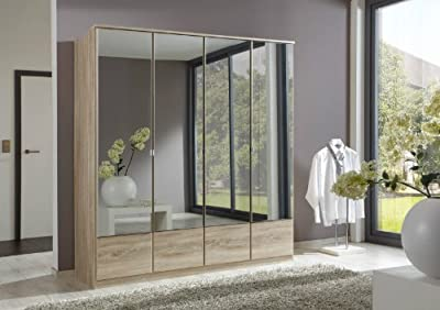 German Imago Light Oak 4 Door Mirror Door Wardrobe - cheap UK light store.
