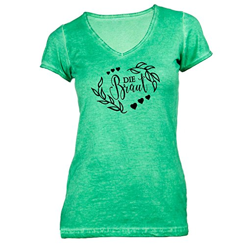 Damen T-Shirt V-Ausschnitt - Junggesellenabschied - Die BRAUT Nature - JGA Style Grün