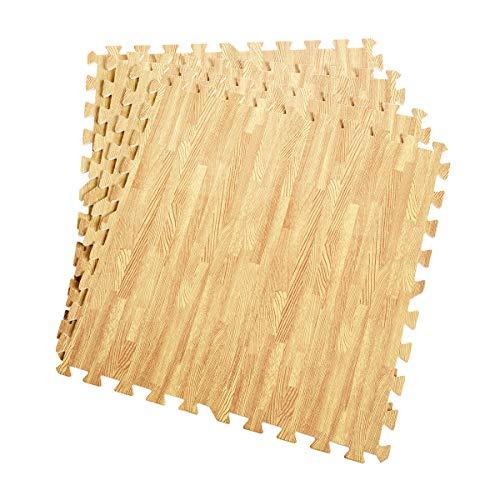 COSTWAY Schutzmatte 12 Stück, Bodenschutzmatte je 60x60x1,2 cm, Puzzlematte aus Eva, Unterlegmatte Fitnessmatte Gymnastikmatte, Matte für Bodenschutz, Farbwahl (Holzoptik)