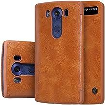 MYLB Estilo del libro delgado de la PU del cuero del tirón cubierta funda case cover de la caja del teléfono para LG V10 smartphone (marrón)