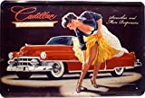 Blechschild Sexy Girl PinUp vor Cadillac 20 x 30cm Reklame Retro Blech 833