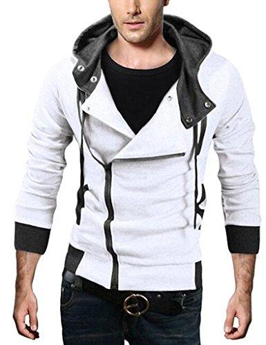 Legou Herren Hoodie Longsleeve Pullover Kapuzenpulli Sweater Weiß XXXXL