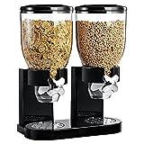 ASAB, due dispenser per cereali per la colazione, contenitori per cibo secco con valvola a rotazione Black