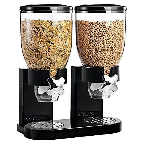Asab - Doble dispensador de cereales, recipiente de almacenamiento de alimentos secos, para encimera, con válvula de liberación por giro