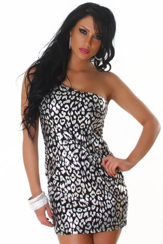 Jela london robe courte asymétrique avec paillettes & modèle élégant Argenté - silber Punkte